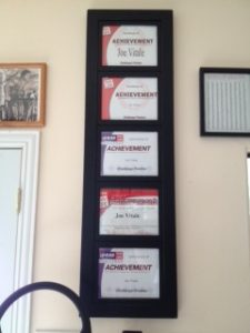 My 5 Certificates of Achievement for entering five consecutive Body for Life contests in 2004 and 2005