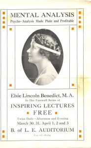 Ad for free lectures circa 1920