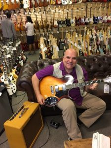 I went to Norm's Rare Guitars in LA, suggested by Melissa, and got this cool Gretsch with built-in phazer effects.