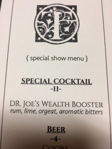 The Townsend even had a special drink for the live show